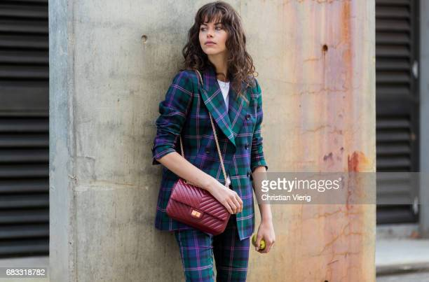Model Georgia Fowler wearing a checked suit at day 2 during MercedesBenz Fashion Week Resort 18 Collections at Carriageworks on May 15 2017 in Sydney...