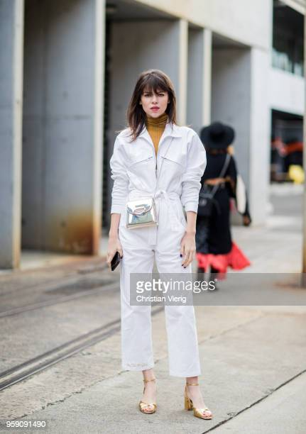 Model Georgia Fowler wearing white overall during MercedesBenz Fashion Week Resort 19 Collections at Carriageworks on May 16 2018 in Sydney Australia