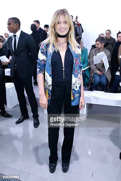 Model Georgia May Jagger attends the Louis Vuitton Menswear Fall/Winter 20162017 Fashion Show as part of Paris Fashion Week Held at 'Parc Andre...
