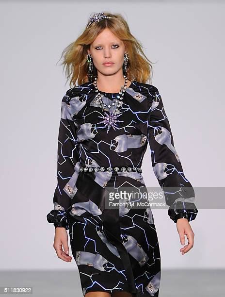 Model Georgia May Jagger walks the runway at the Ashley Williams show during London Fashion Week Autumn/Winter 2016/17 at Brewer Street Car Park on...