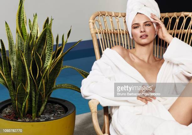 Model Georgina Howard poses at a beauty shoot for Madame Figaro on November 7, 2017 in Paris, France. Robe and towel by Descamps. PUBLISHED IMAGE....