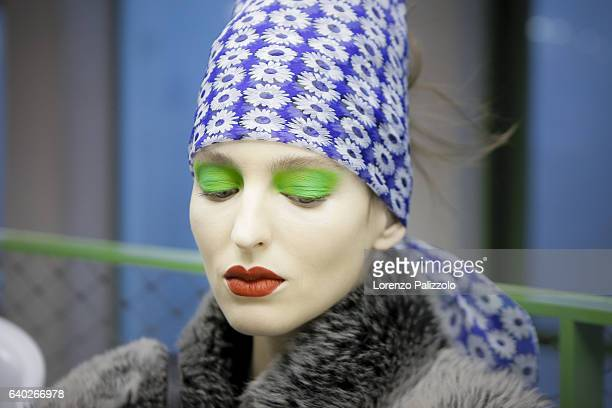 Model Georgina Stojiljkovic poses Backstage prior the Jean Paul Gaultier Fashion Week on January 25, 2017 in Paris, France.