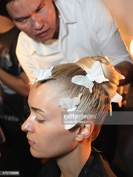 Model gets Hair and Make Up by Head Stylist Jorge Luis during the Ines Di Santo Bridal Spring/Summer 2016 Runway Show on April 17 2015 in New York...