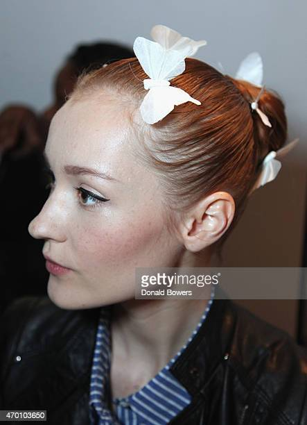 Model gets Hair and Make Up during the Ines Di Santo Bridal Spring/Summer 2016 Runway Show on April 17 2015 in New York City