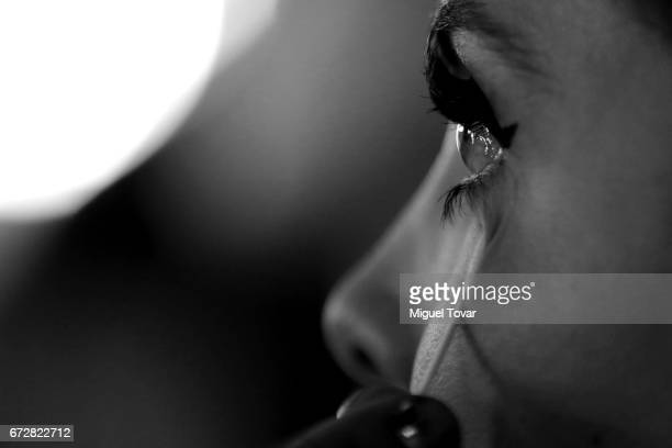 Model gets ready at the backstage during the Sandra Weil show as part of the Mercedes Benz Fashion Week Mexico A/W 2017 at Monumento a la...
