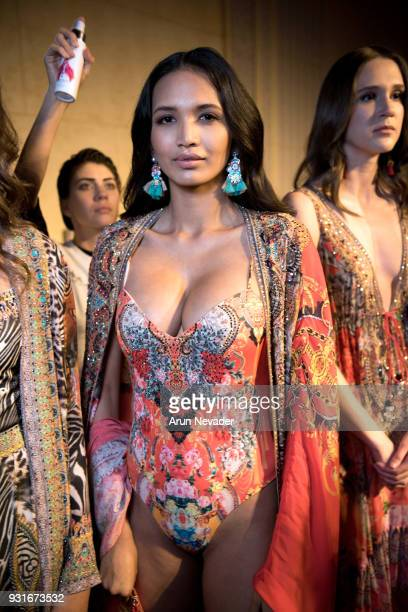 A model gets ready backstage with Style the Runway at Los Angeles Fashion Week Powered by Art Hearts Fashion LAFW FW/18 10th Season Anniversary...