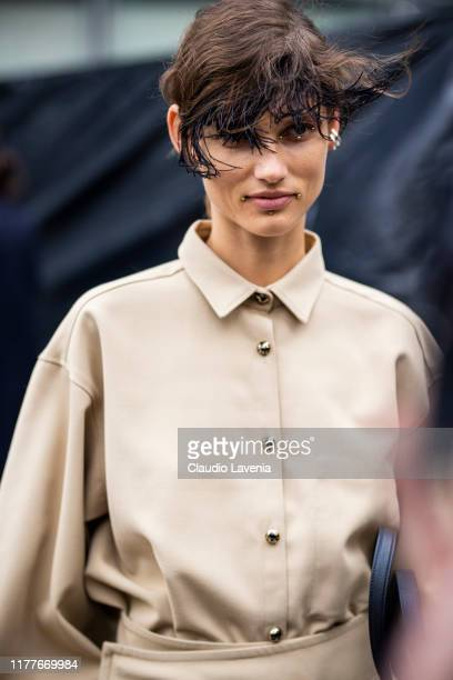 Model Giedre Dukauskaite beauty details is seen outside the Dries Van Noten show during Paris Fashion Week Womenswear Spring Summer 2020 on September...