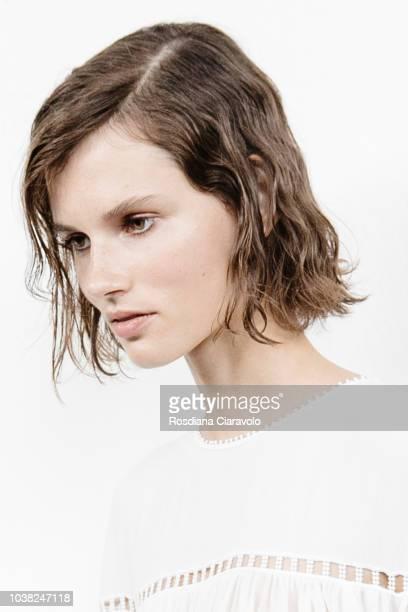 Model Giedre Dukauskaite hair detail is seen backstage ahead of the Philosophy Di Lorenzo Serafini show during Milan Fashion Week Spring/Summer 2019...