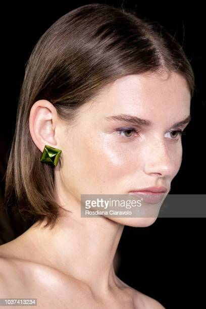 Model Giedre Dukauskaite is seen backstage ahead of the Blumarine show during Milan Fashion Week Spring/Summer 2019 on September 21 2018 in Milan...
