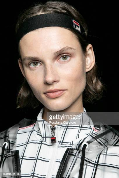 Model Giedre Dukauskaite is seen backstage ahead of the Fila show during Milan Fashion Week Spring/Summer 2019 on September 23 2018 in Milan Italy