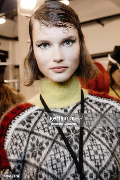 Model Giedre Dukauskaite is seen backstage ahead of the N21 show during Milan Fashion Week Fall/Winter 2018/19 on February 21 2018 in Milan Italy