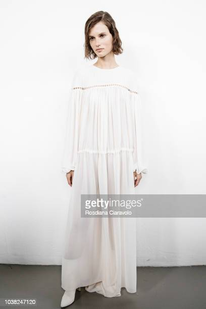 Model Giedre Dukauskaite is seen backstage ahead of the Philosophy Di Lorenzo Serafini show during Milan Fashion Week Spring/Summer 2019 on September...