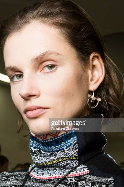 Model Giedre Dukauskaite is seen backstage ahead of the Sportmax show during Milan Fashion Week Fall/Winter 2018/19 on February 23 2018 in Milan Italy