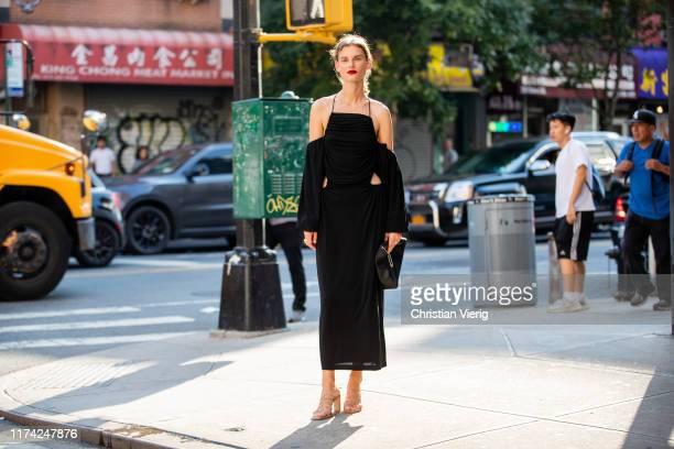 Model Giedre Dukauskaite is seen wearing black dress, bag, heels outside Dion Lee during New York Fashion Week September 2019 on September 11, 2019...