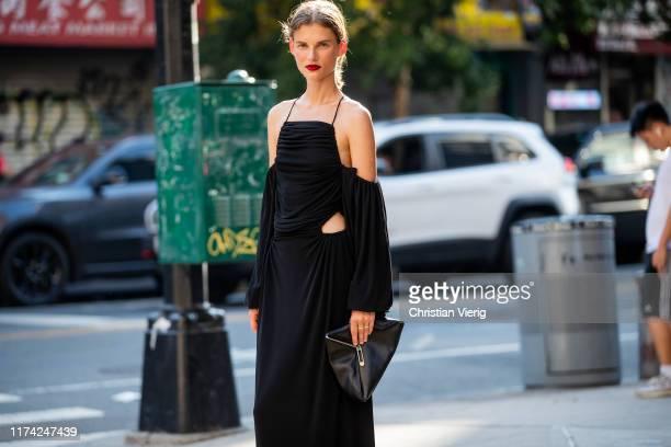 Model Giedre Dukauskaite is seen wearing black dress bag outside Dion Lee during New York Fashion Week September 2019 on September 11 2019 in New...