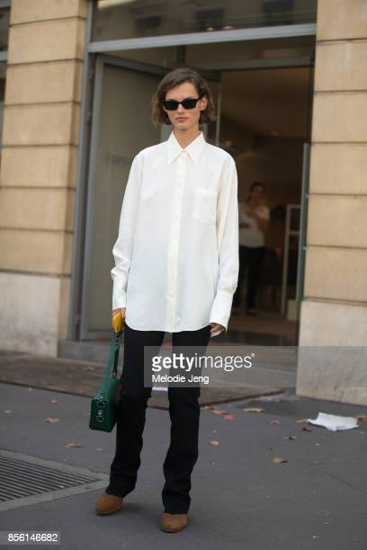Model Giedre Dukauskaite outside the Acne Studios show on September 30 2017 in Paris France