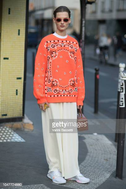 Model Giedre Dukauskaite poses after the APC show at the Garage Amelot during Paris Fashion Week SS19 Womenswear on October 1 2018 in Paris France