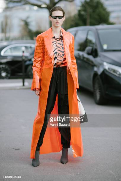 Model Giedre Dukauskaite poses after the Lacoste show at the Tennis Club de Paris during Paris Fashion Week Womenswear Fall Winter 2019/2020 on March...