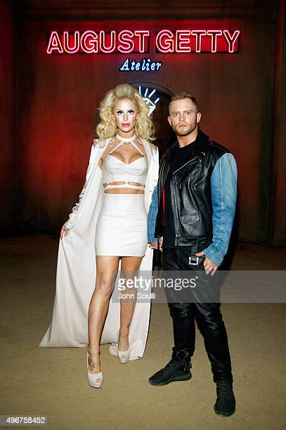Model Gigi Gorgeous and fashion designer August Getty attend the August Getty Atelier SS 2016 'The Thread Of Man' presentation with David LaChapelle...