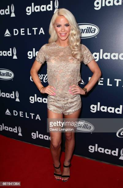 Model Gigi Gorgeous attends the inaugural GLAAD Rising Stars Luncheon at The Beverly Hilton Hotel on March 31 2017 in Beverly Hills California