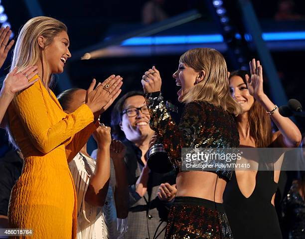 Model Gigi Hadid actress Serayah recording artist Taylor Swift director Joseph Kahn and model Lily Aldridge accept the Video of the Year award for...