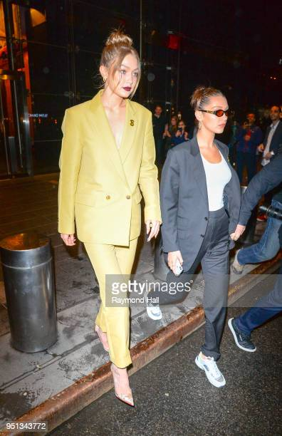 Model Gigi Hadid and Bella Hadid are seen walking in Midtown on April 25 2018 in New York City
