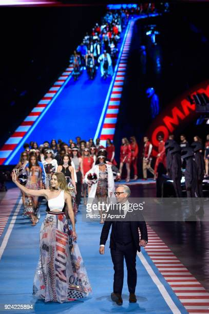 Model Gigi Hadid and designer Tommy Hilfiger walk the runway during his show at Milan Fashion Week Fall/Winter 2018/19 on February 25 2018 in Milan...