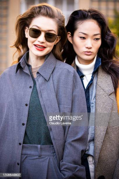 Model Gigi Hadid and Model Hyun Ji Shin are seen outside Lanvin fashion show on February 26, 2020 in Paris, France.