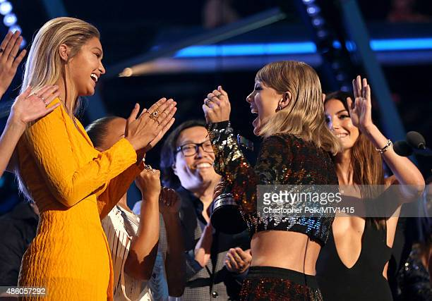 Model Gigi Hadid and recording artist Taylor Swift celebrate during the 2015 MTV Video Music Awards at Microsoft Theater on August 30 2015 in Los...