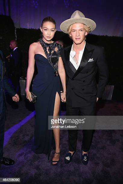 Model Gigi Hadid and singer Cody Simpson attend ROCA PATRON TEQUILA at the 23rd Annual Elton John AIDS Foundation Academy Awards Viewing Party on...