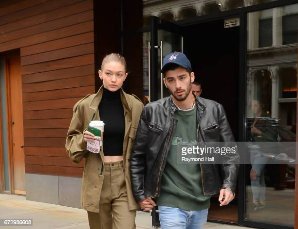 Model Gigi Hadid and singer Zayn Malik are seen walking in Soho on April 25 2017 in New York City