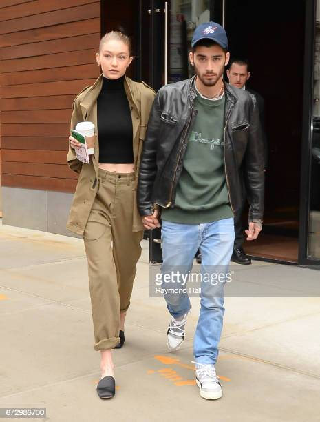 Model Gigi Hadid and singer Zayn Malik are seen walking in Soho on April 25, 2017 in New York City.