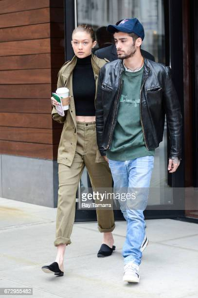 Model Gigi Hadid and singer Zayn Malik leave their apartment on April 25 2017 in New York City