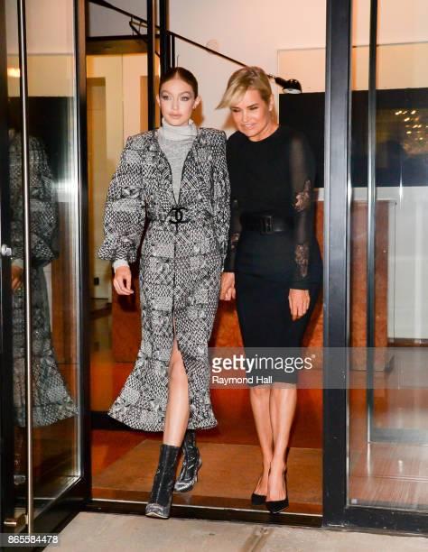 Model Gigi Hadid and Yolanda Hadid are seen walking in Soho on October 23 2017 in New York City