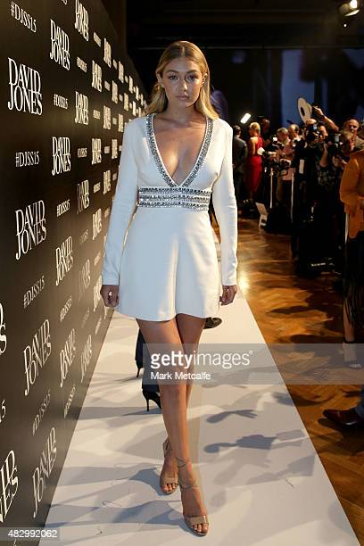 Model Gigi Hadid arrives ahead of the David Jones Spring/Summer 2015 Fashion Launch at David Jones Elizabeth Street Store on August 5 2015 in Sydney...