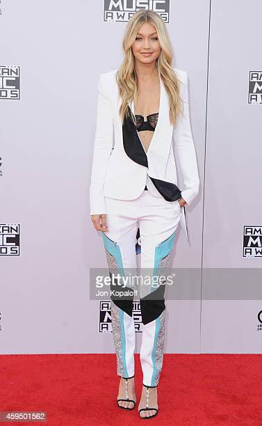 Model Gigi Hadid arrives at the 2014 American Music Awards at Nokia Theatre LA Live on November 23 2014 in Los Angeles California