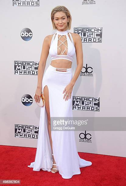Model Gigi Hadid arrives at the 2015 American Music Awards at Microsoft Theater on November 22 2015 in Los Angeles California