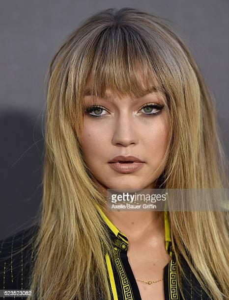 Model Gigi Hadid arrives at the 2016 MTV Movie Awards at Warner Bros. Studios on April 9, 2016 in Burbank, California.