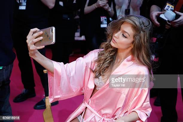Model Gigi Hadid at the 2016 Victoria's Secret Fashion Show at Le Grand Palais on November 30 2016 in Paris France