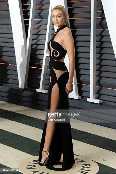 Model Gigi Hadid attend the 2015 Vanity Fair Oscar Party hosted by Graydon Carter at Wallis Annenberg Center for the Performing Arts on February 22...