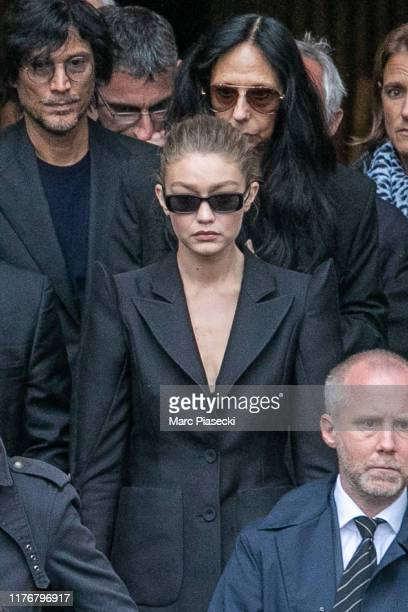 Model Gigi Hadid attends Peter Lindbergh's funeral at Eglise Saint-Sulpice on September 24, 2019 in Paris, France.