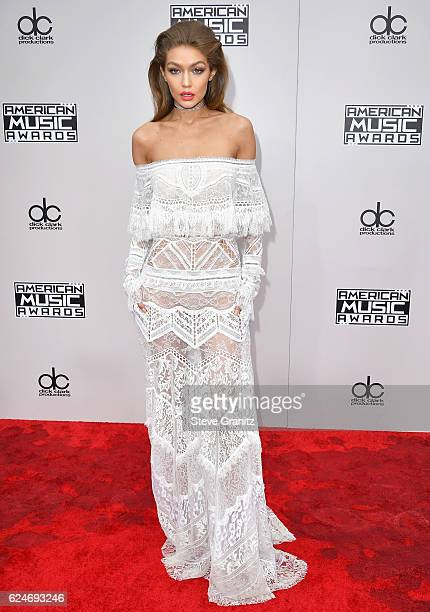 Model Gigi Hadid attends the 2016 American Music Awards at Microsoft Theater on November 20 2016 in Los Angeles California