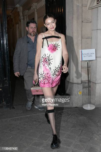 Model Gigi Hadid attends the 'Americans In Paris' Cocktail Party Outside Arrivals as part of the Paris Fashion Week Womenswear Fall/Winter 2019/2020...