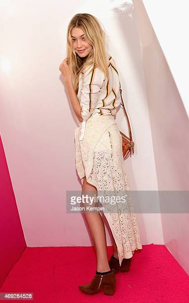 Model Gigi Hadid attends the HM Loves Coachella Tent at the 2015 Coachella Valley Music Arts Festival at the Empire Polo Club on April 10 2015 in...