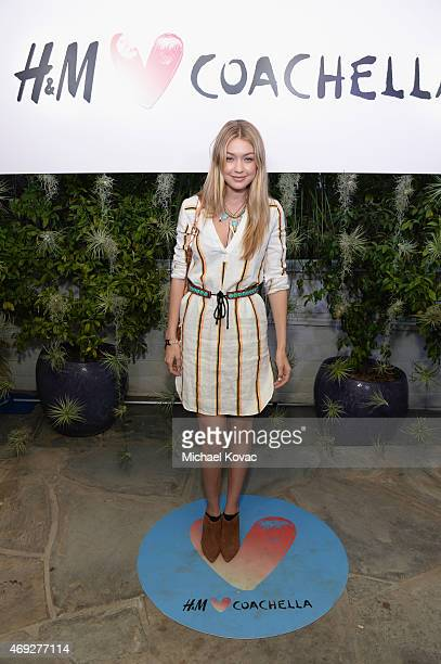 Model Gigi Hadid attends the Official HM Loves Coachella Party at the Parker Palm Springs on April 10 2015 in Palm Springs California