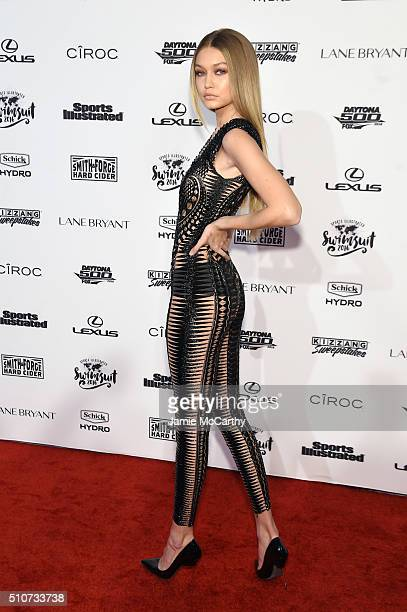 Model Gigi Hadid attends the Sports Illustrated Swimsuit 2016 NYC VIP press event on February 16 2016 in New York City