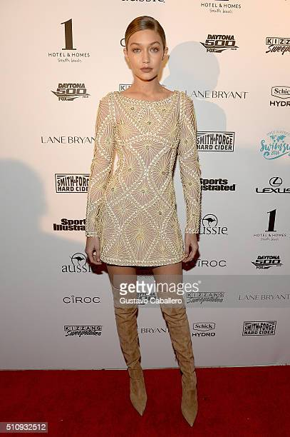 Model Gigi Hadid attends the Sports Illustrated Swimsuit 2016 Swim BBQ VIP at 1 Hotel Homes South Beach on February 17 2016 in Miami Beach Florida