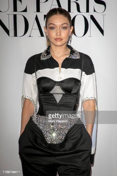 Model Gigi Hadid attends the Vogue diner as part of Paris Fashion Week - Haute Couture Fall Winter 2020 at Le Trianon on July 02, 2019 in Paris,...