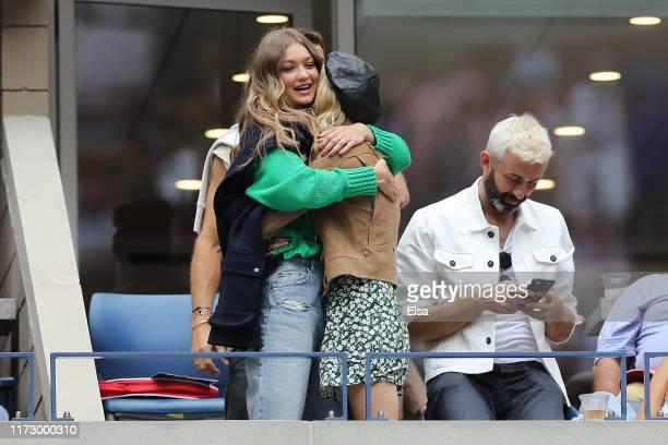 Model Gigi Hadid attends the Women's Singles final match between Serena Williams of the United States and Bianca Andreescu of Canada day thirteen of...