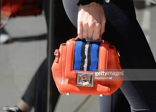 Model Gigi Hadid bag detail is seen walking in soho on July 19 2018 in New York City